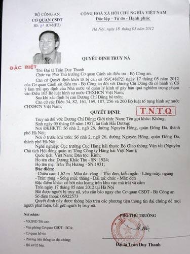 Truy nã đặc biệt ông Dương Chí Dũng - 3