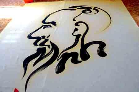 Bức họa chân dung Bác Hồ trên mành tre lớn nhất - 2