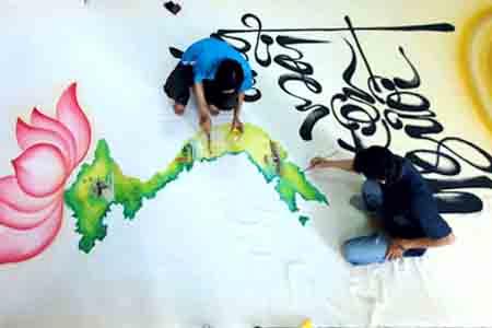 Bức họa chân dung Bác Hồ trên mành tre lớn nhất - 9