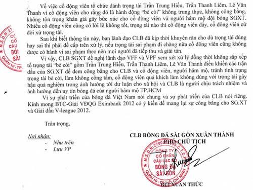 Vu khống trọng tài, Sài Gòn.XT bị phạt nặng? - 2