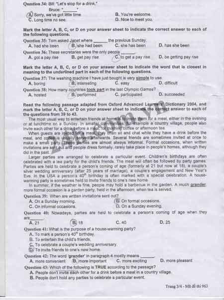 Đề thi tốt nghiệp môn tiếng Anh năm 2012 - 21