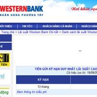 Western Bank rút lãi suất cao nhất về 12,5%/năm