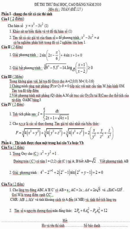 Đáp án đề thi thử ĐH môn Toán (Đề 127) - 1