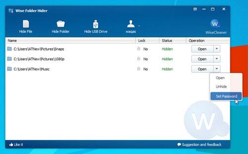 Dễ dàng ẩn các tập tin / thư mục trên ổ cứng hay USB với Wise Folder Hider - 3