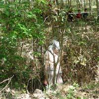 Xác chết lõa thể treo lơ lửng trên cây