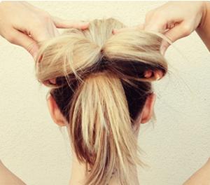 Tóc búi nơ dễ thương cho bạn gái - 4