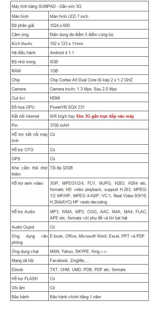 Máy tính bảng Sunpad giá siêu rẻ tại Việt Nam - 8