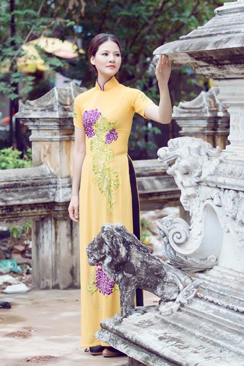 Trần Thị Quỳnh điệu đà áo dài vàng chanh - 17
