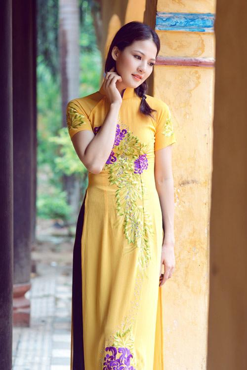 Trần Thị Quỳnh điệu đà áo dài vàng chanh - 3