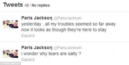 Con gái Michael Jackson tự tử chết hụt, Ca nhạc - MTV, paris jackson, con gai micheal jackson, tu tu, cat tay tu tu, ca si, ca nhac, ngoi sao, bao ngoi sao, giai tri, showbiz, bao, vn, ca nhac