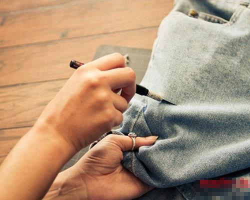 Tự tay làm quần jeans rách cực chất! - 5