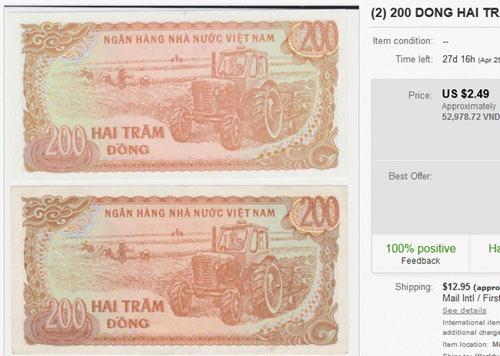 Tiền giấy 200 đồng được rao bán gấp 250 lần mệnh giá - 1