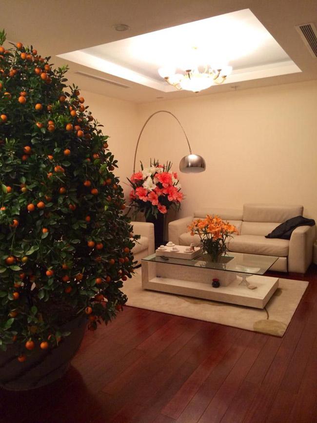 Phòng khách sang trọng với gam màu trắng hiện đại.