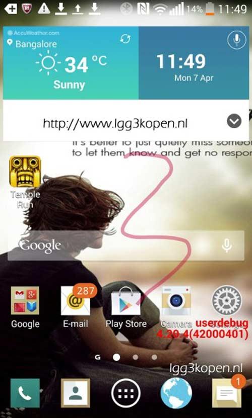 LG G3 lộ giao diện phẳng, ra mắt tháng 5 - 1