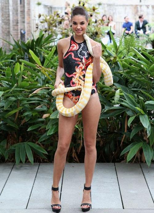 Người mẫu bikini bế trăn bạch tạng lên sàn diễn - 1