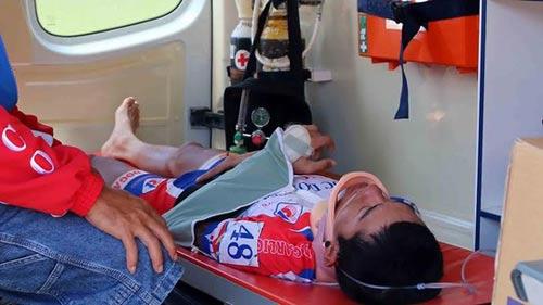 Cuộc đua xe đạp HTV 2014: Cua-rơ của Đồng Tháp bị gãy tay, dập cột sống - 2