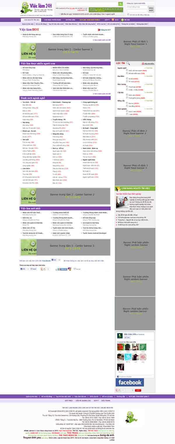 Bảng giá banner và tin tuyển dụng trang VIECLAM.24H.COM.VN - 2