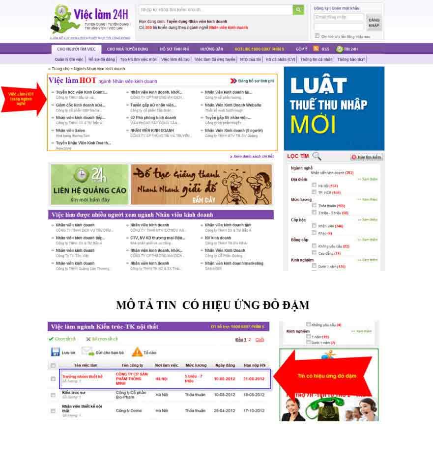 Bảng giá banner và tin tuyển dụng trang VIECLAM.24H.COM.VN - 4