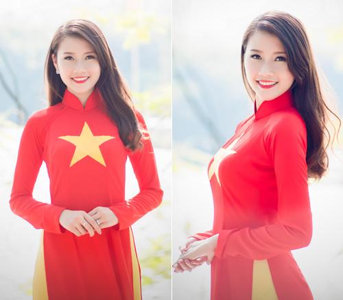 Người đẹp Việt mặc áo dài cờ đỏ sao vàng hát Quốc ca - 6