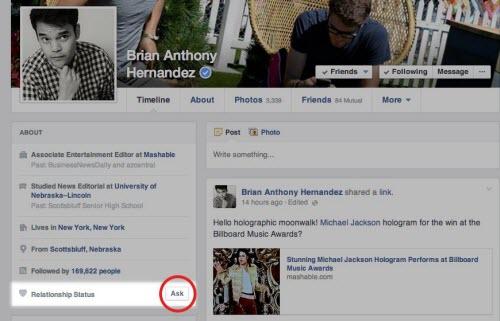 Facebook có tính năng hỏi về tình trạng hôn nhân - 1