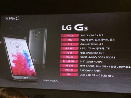 Cấu hình chi tiết của siêu phẩm LG G3 - 1