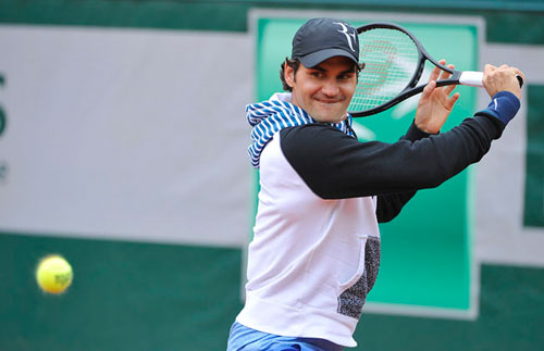Cận cảnh Federer, Nole tập luyện trước Roland Garros - 4