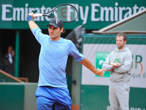 Cận cảnh Federer, Nole tập luyện trước Roland Garros - 6