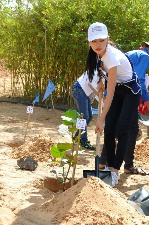 Thí sinh hoa hậu đội nắng đi trồng cây - 7
