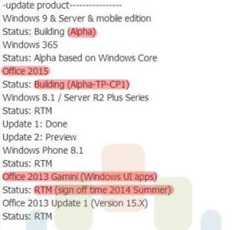 Windows 9 và Windows Phone 9 ra mắt giữa năm 2015 - 2