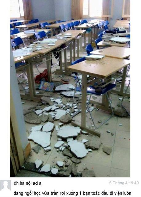 HN: Ngồi trong lớp, nữ sinh bị vữa rơi trúng đầu - 1