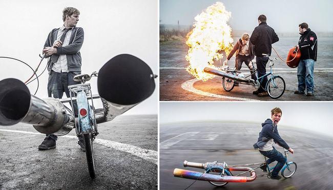 Colin Furze, 32 tuổi, đã phát minh ra chiếc xe đạp Norah, được vận hành bởi một động cơ phản lực tự chế (gồm bình xăng và ống xả) có thể đạt tốc độ 80,5 km/h. & nbsp;Chiếc Norah của Furze sử dụng công nghệ tương tự như công nghệ dùng để chế tạo những quả bom Doodlebug trong chiến tranh thế giới thứ hai. & nbsp;