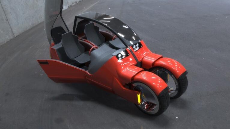 """Độc đáo xe ô tô """"phân thân"""" thành hai chiếc xe máy - 1"""