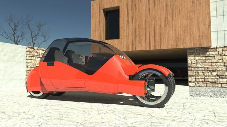 """Độc đáo xe ô tô """"phân thân"""" thành hai chiếc xe máy - 2"""