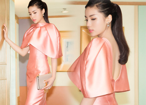"""Hoa hậu Kỳ Duyên """"kín trước, hở sau"""" với đầm hồng - 3"""
