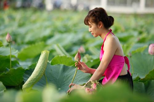 Chị em Hà Thành nô nức mặc yếm đào chụp ảnh sen - 6