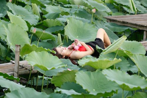 Chị em Hà Thành nô nức mặc yếm đào chụp ảnh sen - 5
