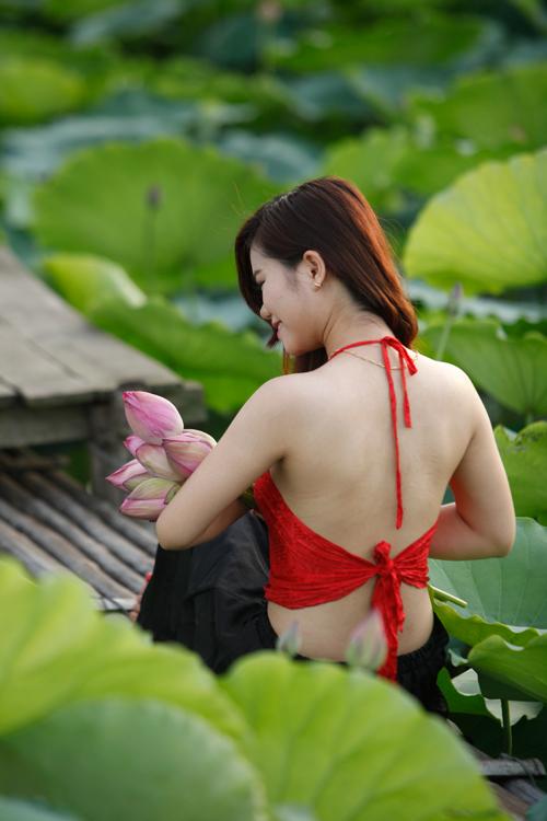 Chị em Hà Thành nô nức mặc yếm đào chụp ảnh sen - 7