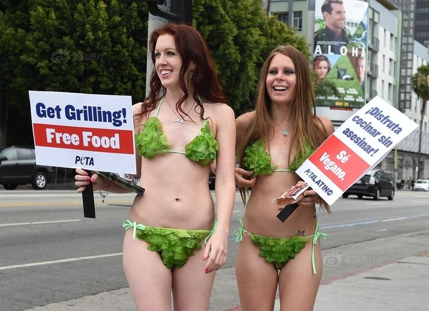 Gái xinh diện bikini rau xuống phố kêu gọi ăn chay - 3