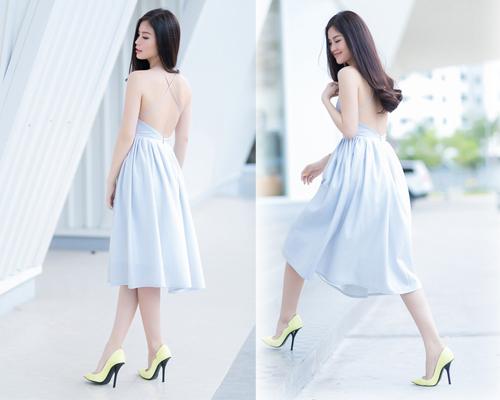 Á hậu Diễm Trang bất ngờ sexy với váy 2 dây - 2