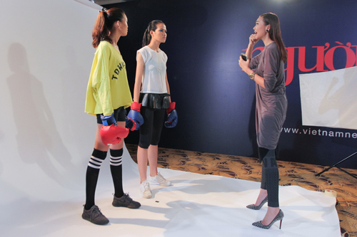 Thanh Hằng đi chân đất dạy thí sinh Top Model đấm bốc - 5