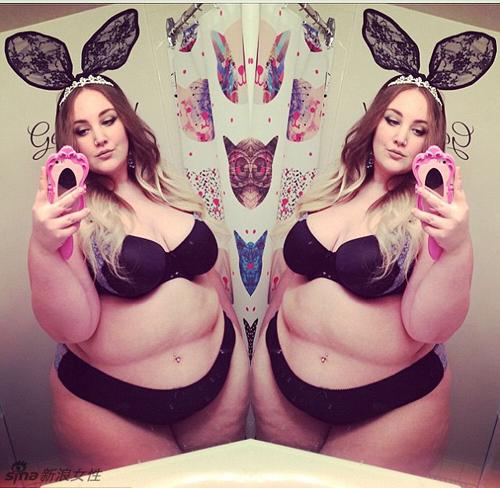Nàng béo gây chú ý khi mặc nội y khoe body núng nính mỡ - 4