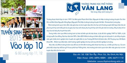 Trường THPT Văn Lang Hà Nội tuyển sinh lớp 10 năm 2015 - 5