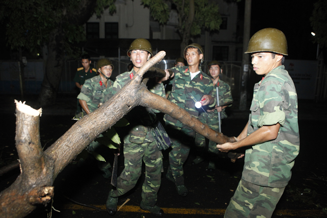 Bộ đội trắng đêm thu dọn cây đổ trong nội thành Hà Nội - 5