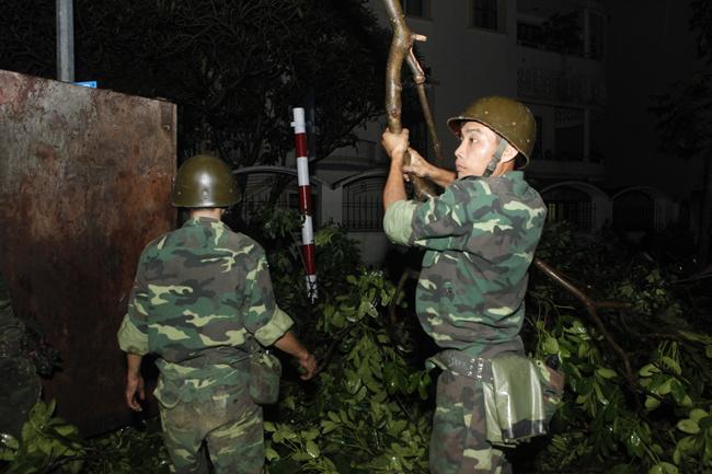 Bộ đội trắng đêm thu dọn cây đổ trong nội thành Hà Nội - 6
