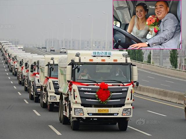 Chú rể dẫn theo 36 chiếc xe tải rước nàng về dinh