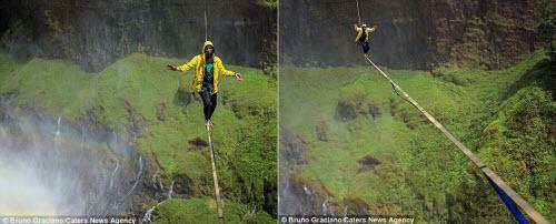 Ảnh: Đi trên dây ngang qua thác nước 60 mét - 8