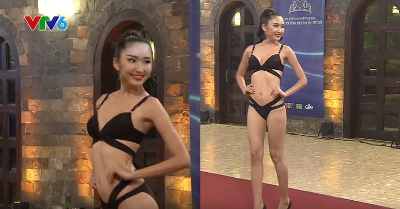 Thí sinh Hoa khôi Áo dài lộ mỡ thừa khi diễn bikini - 2