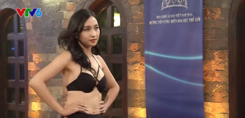 Thí sinh Hoa khôi Áo dài lộ mỡ thừa khi diễn bikini - 3