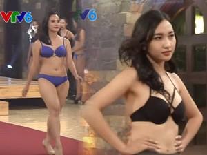 Thời trang - Thí sinh Hoa khôi Áo dài lộ mỡ thừa khi diễn bikini