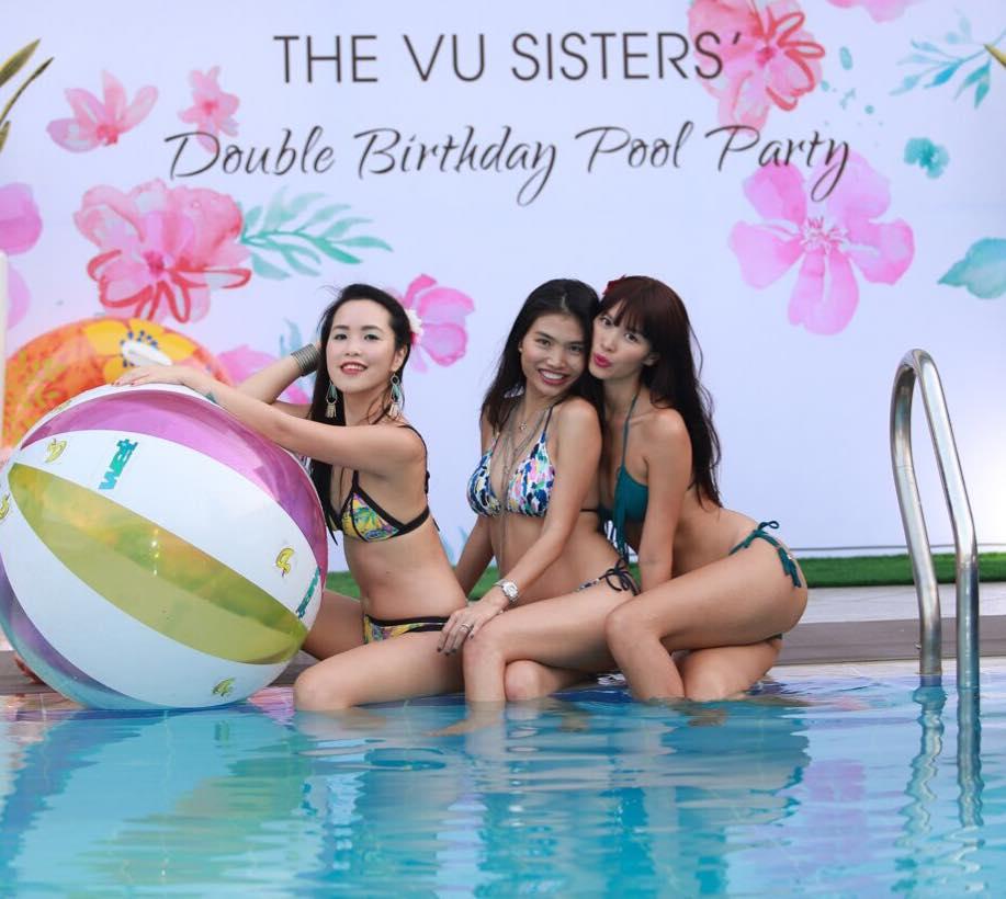 Chị em Hà Anh mặc bikini gợi cảm dự tiệc bên bể bơi - 3